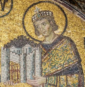 Emperor Constantine I, presenting a model of the city to Virgin Pary. Detail of the southwestern entrance mosaic in Hagia Sophia (Istanbul, Turkey)